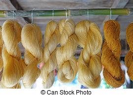 Stock Photography of colorful raw silk thread.