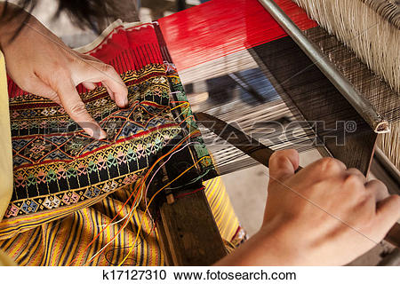 Stock Photography of Process of weaving Thai Silk k17127310.