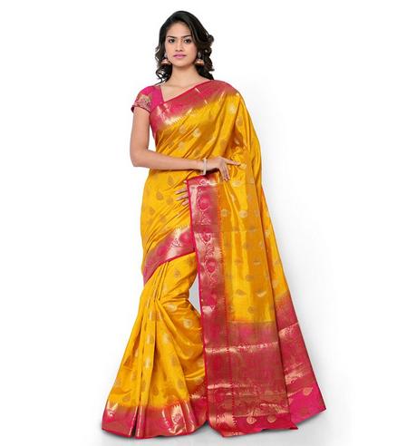 Nd1010mdrn Varkala Silk Sarees Blended Saree (mustard& Pink).