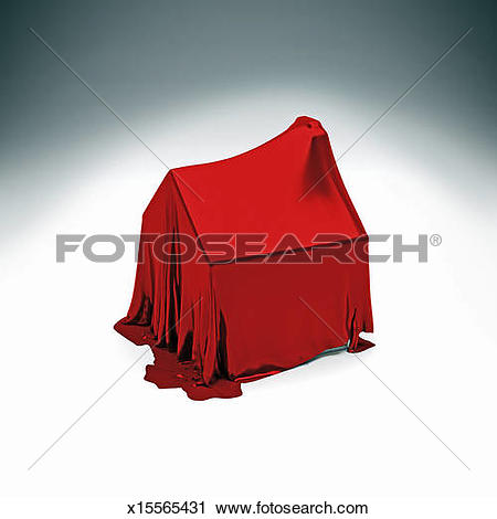 Stock Photography of Detached house under red silk cloth x15565431.