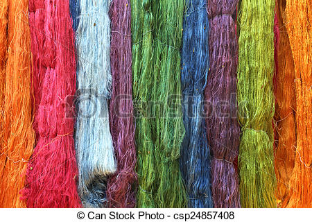 Stock Photography of Colorful raw silk thread in the silk farm.