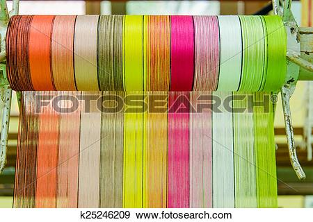 Stock Photograph of silk thread in country of asia,Silk Production.