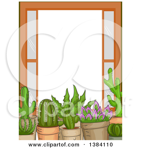 Clipart of a Frame Border of Succulent Plants on a Window Sill.