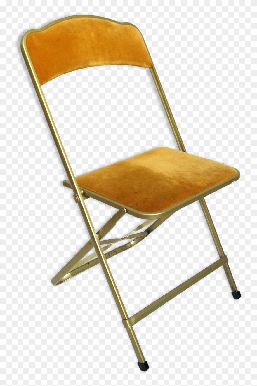 Velvet And Gold Metal Folding Chair.