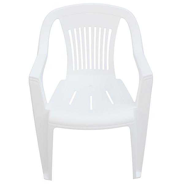 Silla modelo Milan con brazos de plastico color blanco.