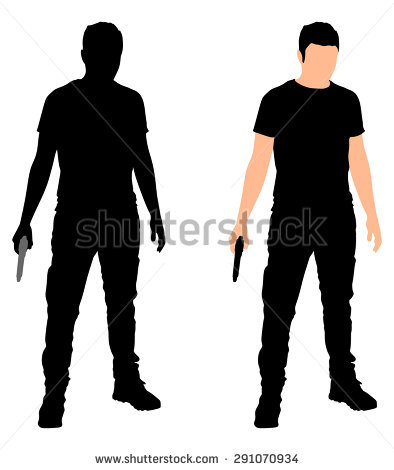 Gun Silhouette Stock Images, Royalty.