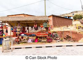 Picture of Souvenir market near towers in Sillustani, Peru,South.