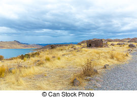 Stock Photography of Funerary towers in Sillustani, Peru,South.