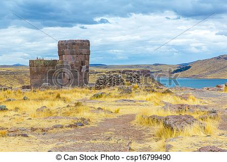Stock Photographs of Funerary towers in Sillustani, Peru,South.