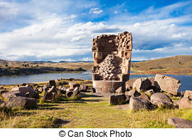 Stock Photo of Funerary towers and ruins in Sillustani, Peru,South.