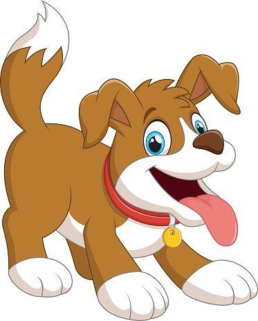 cute fun dog cartoon Clipart Image.
