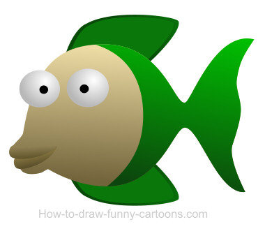 Drawing a fish cartoon.