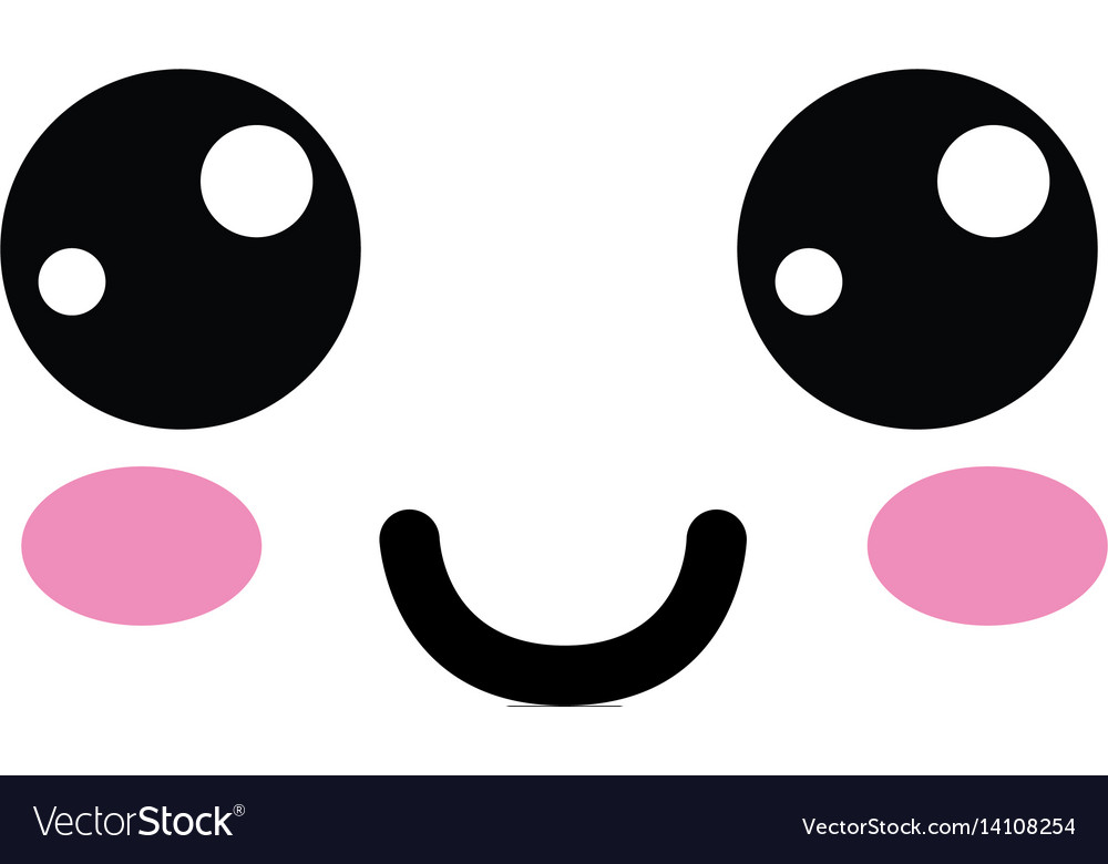Kawaii cute happy face with mouth and cheeks.