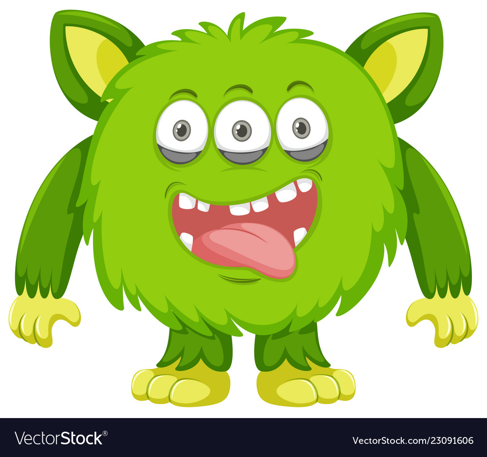 Silly green monster white background.