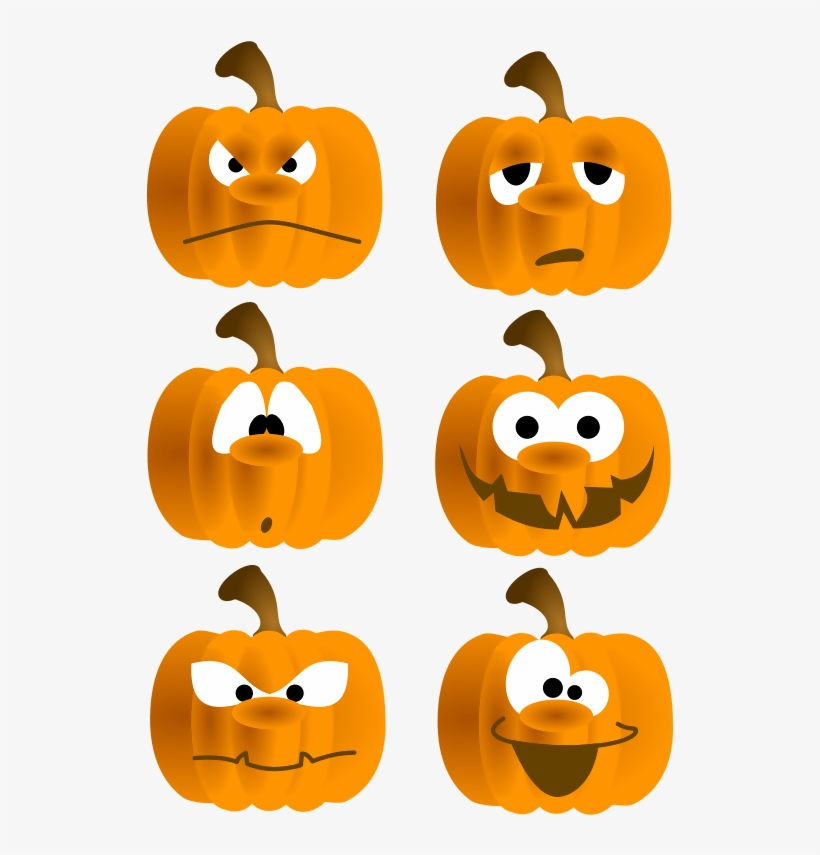 Free Set Of Six Funny Pumpkin Faces Clip Art.