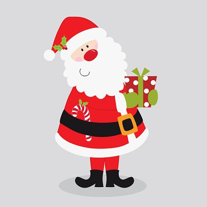 Cute Santa Claus bring Christmas gift and candy cane Clipart.