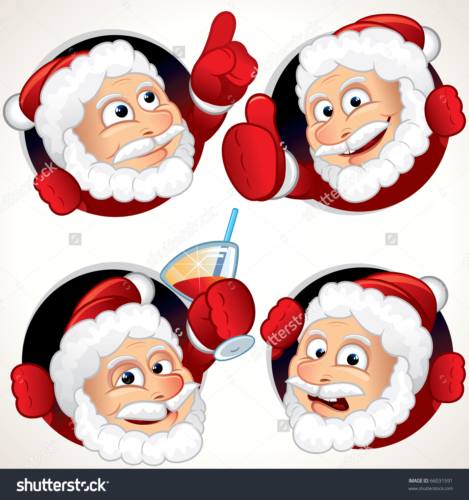 Cute Santa Claus Character Emotion And Gestures.