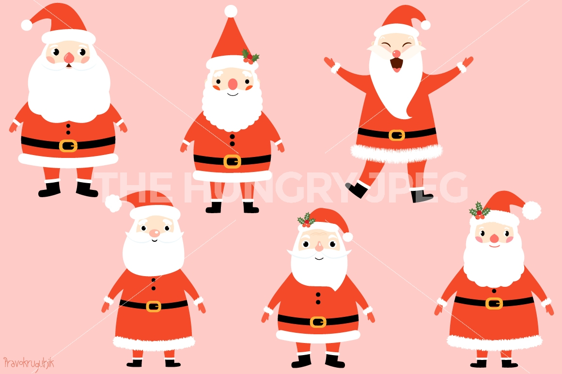 Kawaii Santa Claus clipart set, Cute Santa clip art, Funny Santas.