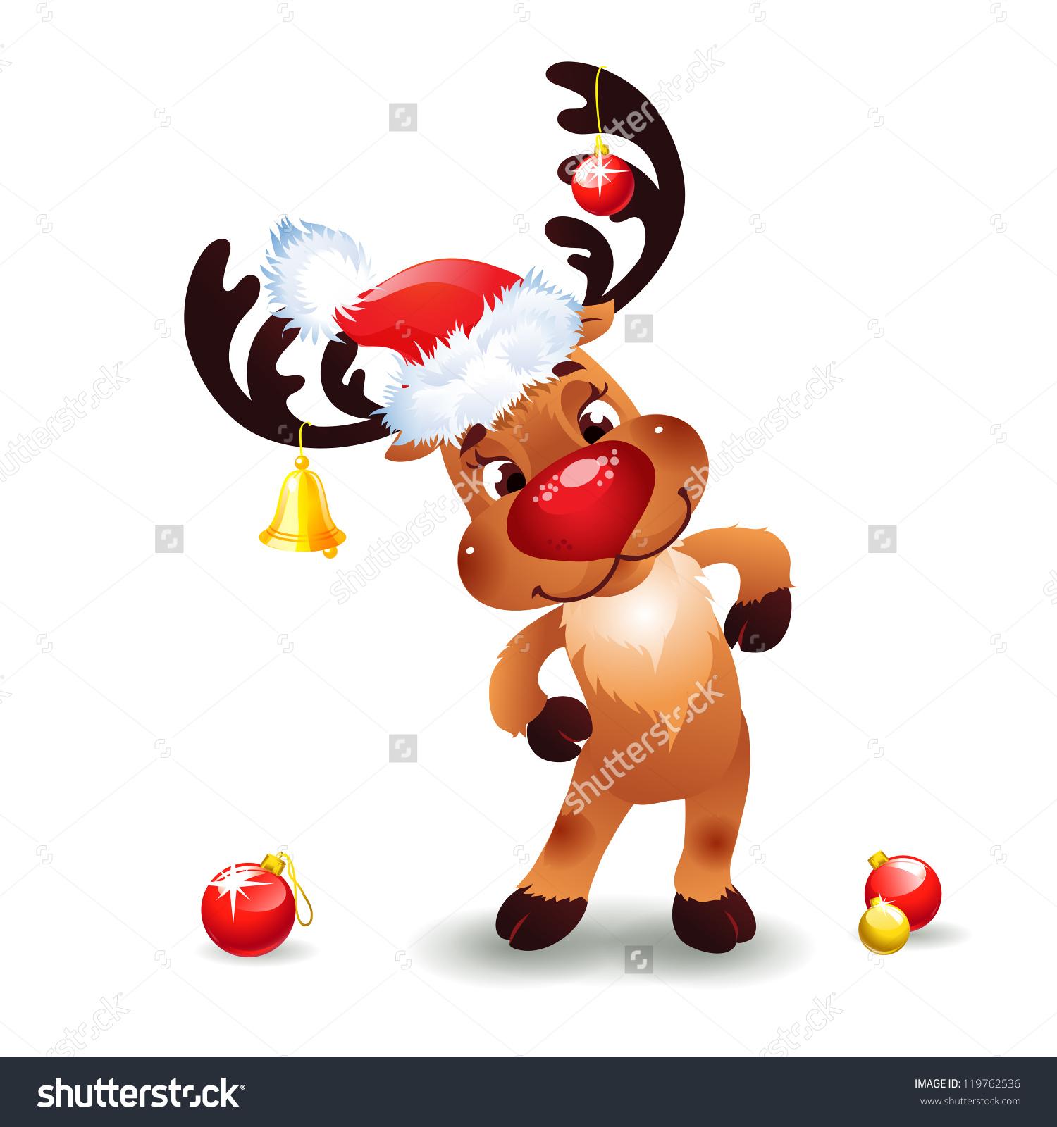 Funny Reindeer Christmas Cute Santa Reindeer Stock Vector.