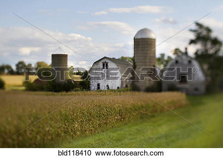Stock Photography of Dutch barn and grain silo or tower bld118410.