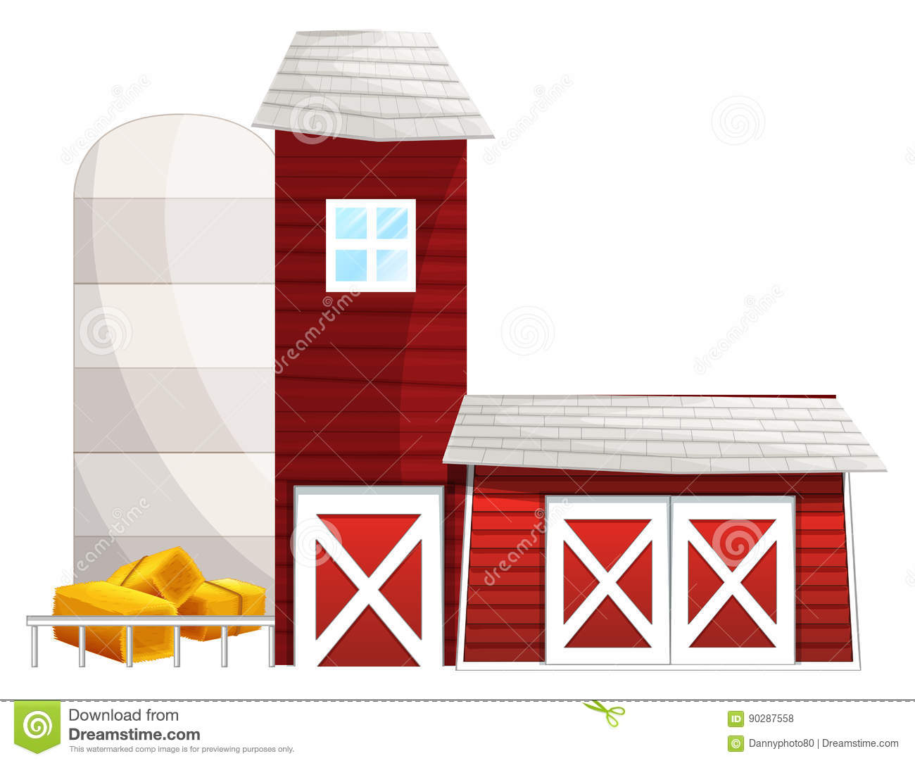 Barn With Two Silo Towers Stock Vector.