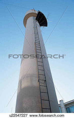 Picture of industrial tower, chimney, structure, tower, ladder.