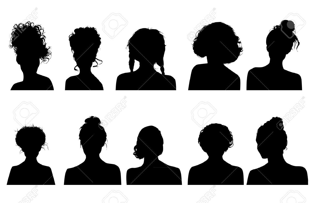 Women Heads Silhouettes Royalty Free Cliparts, Vectors, And Stock.