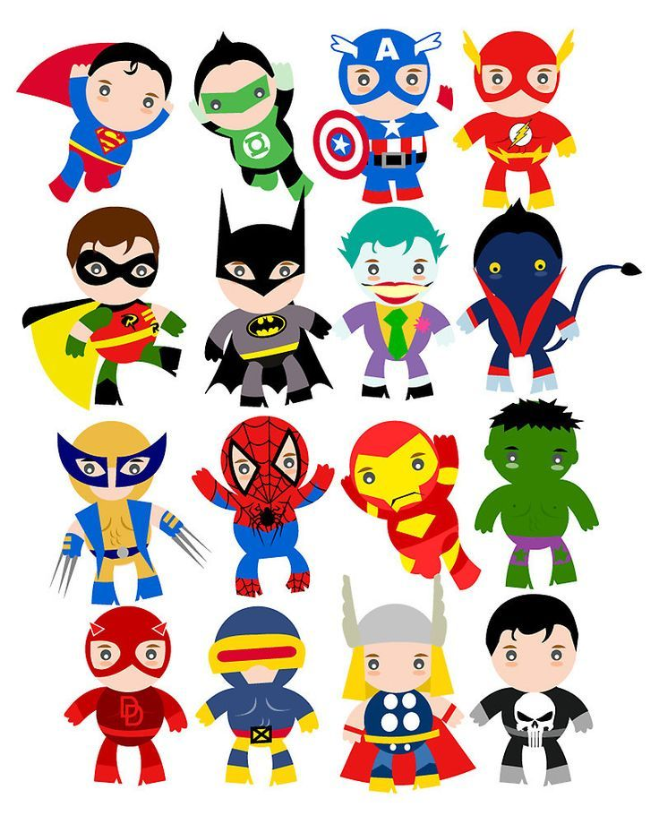 1607 Superheroes free clipart.