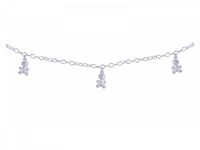 Teddy charms Fancy chain Silver Anklets.