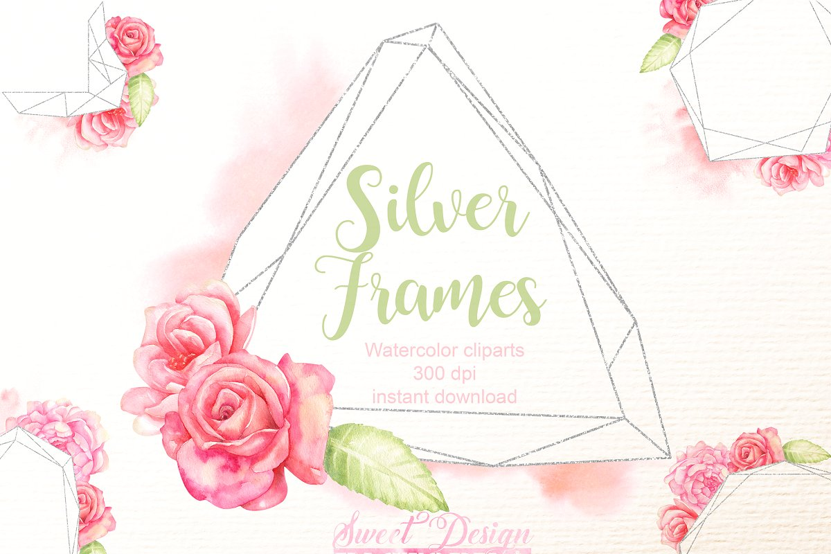 Graphic silver frames cliparts.