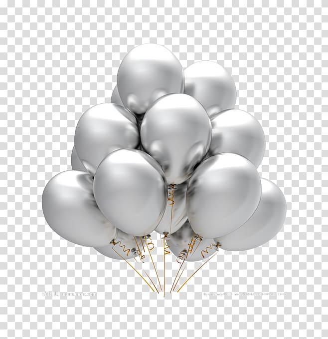 Silver balloons, Balloon Party Silver Birthday, Gray.