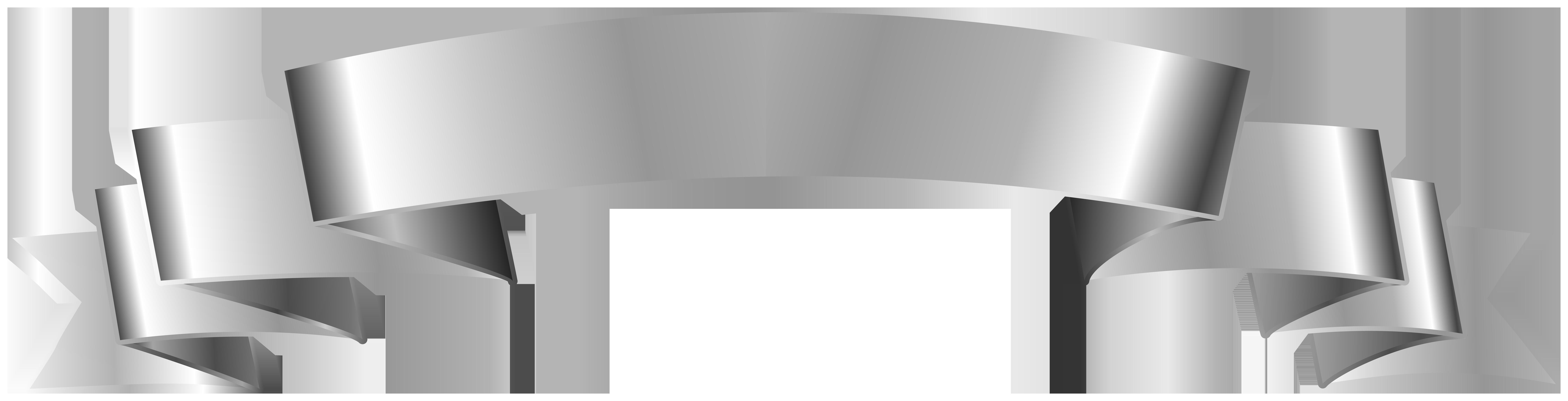 Silver Banner Clip Art Image.