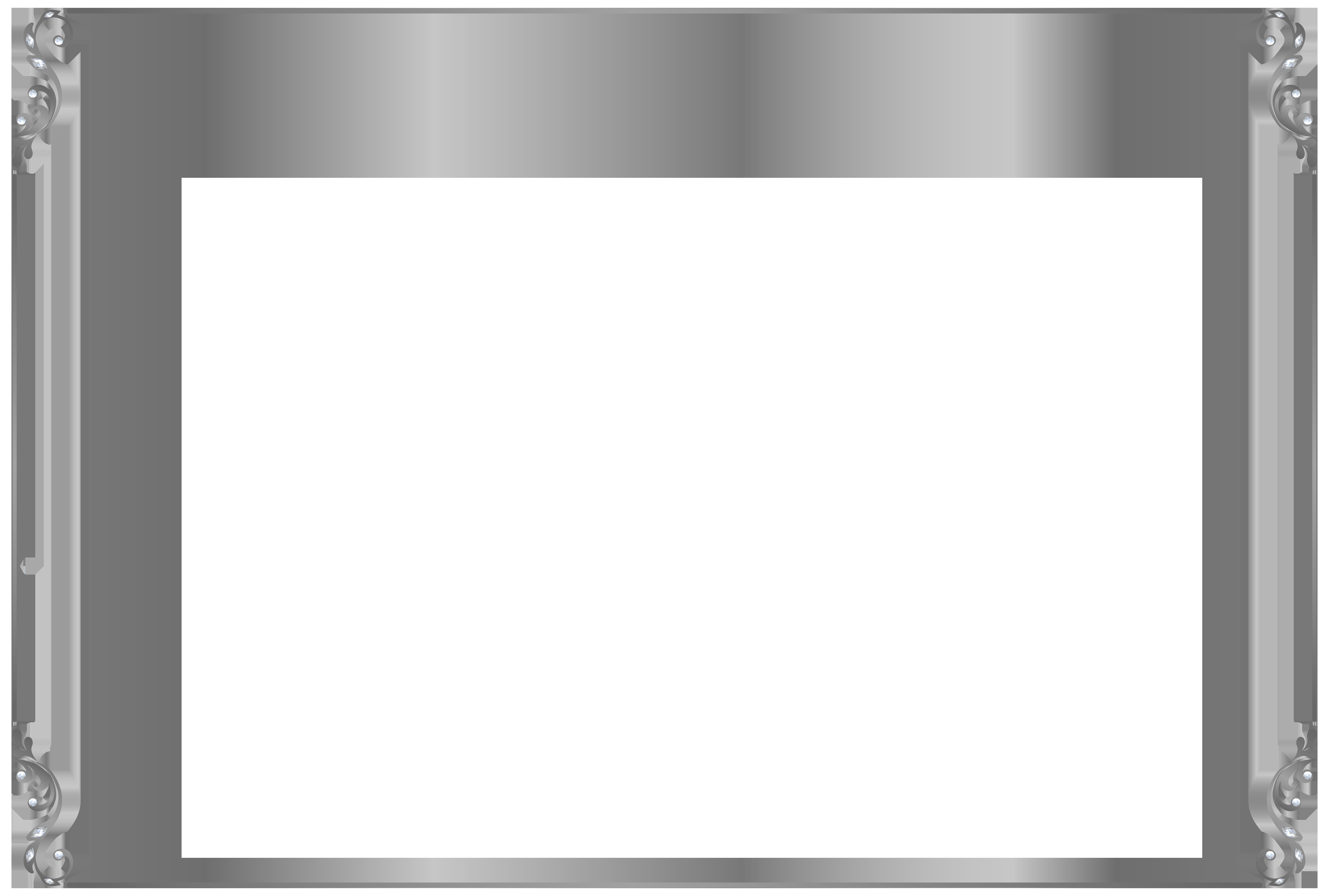 Silver Border Frame PNG Clip Art Image.