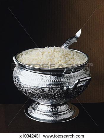 Stock Photography of Rice in Silver Bowl x10342431.