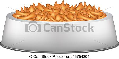 Vector Clipart of Pet food in silver bowl on white background.