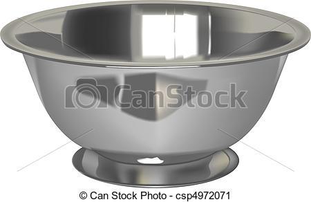 Vector Clip Art of metal bowl.