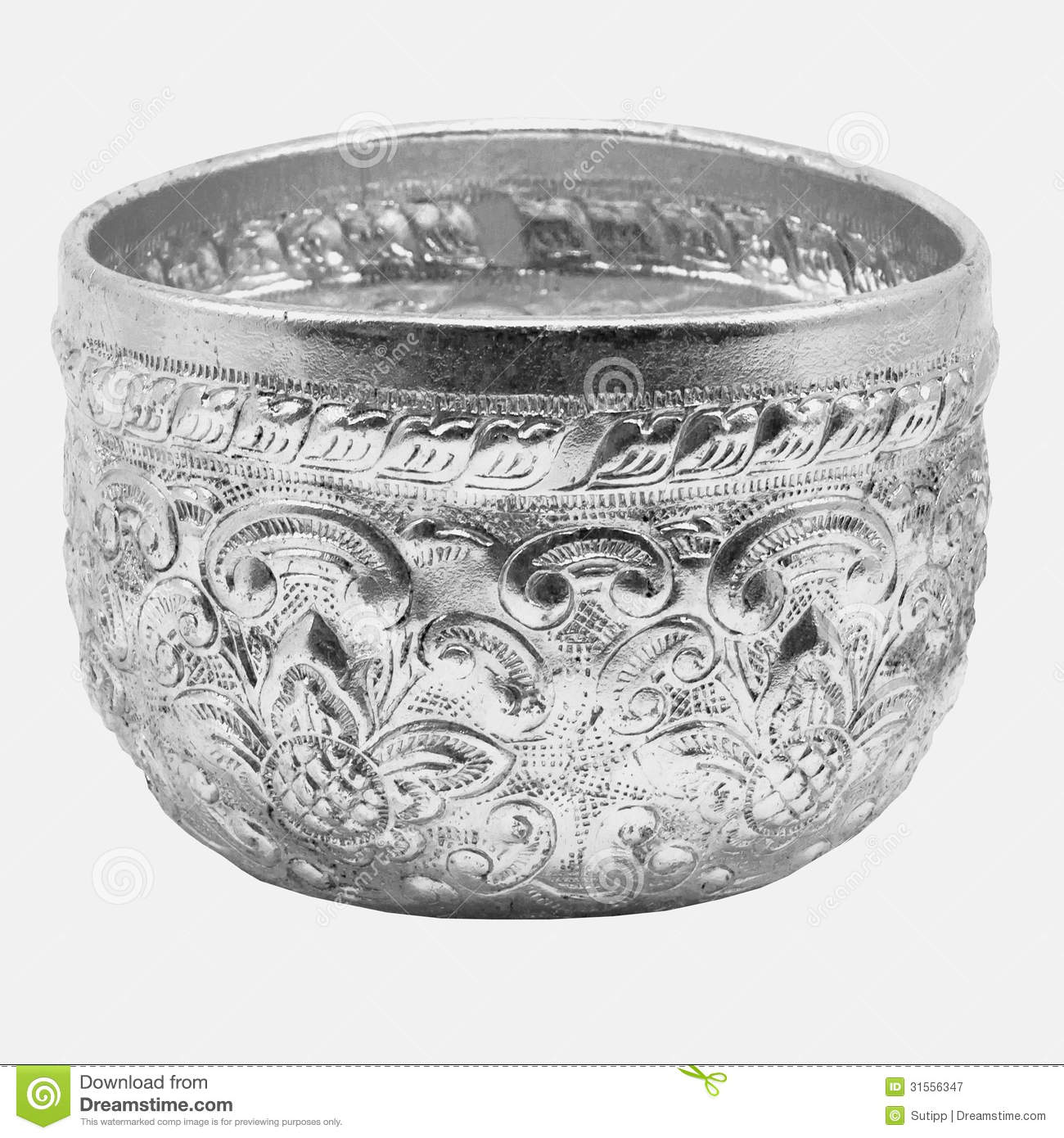Old Antique Vintage Water Bowl , On Silver Background Royalty Free.