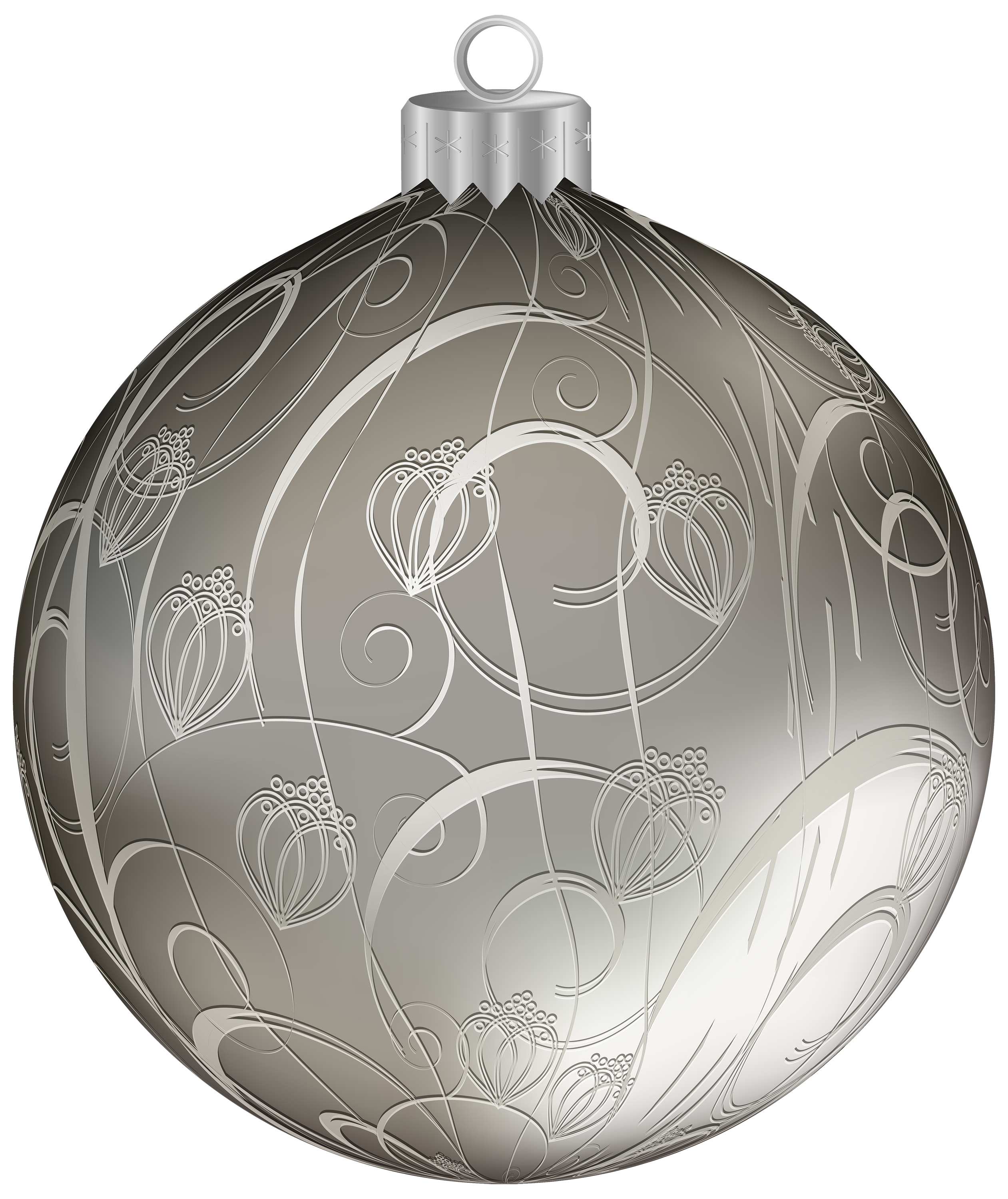 Silver Christmas Ball with Ornaments PNG Clipart Image.