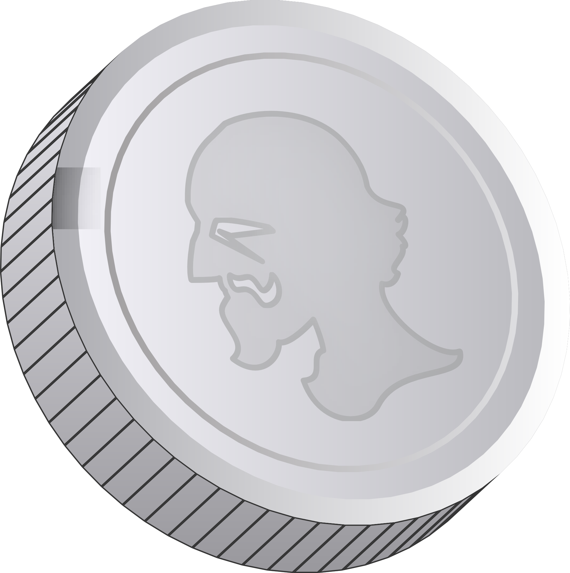 Silver coin with face on it clipart free image.