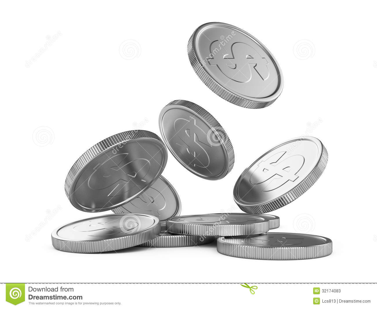 Silver Coins Clipart.