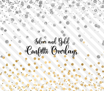 Silver and Gold confetti overlays, PNG party confetti clipart.