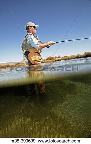 Stock Photograph of Man fly fishing. Silver Creek, Idaho. USA m38.