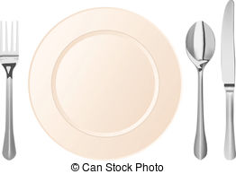 Plate and silverware clip art.