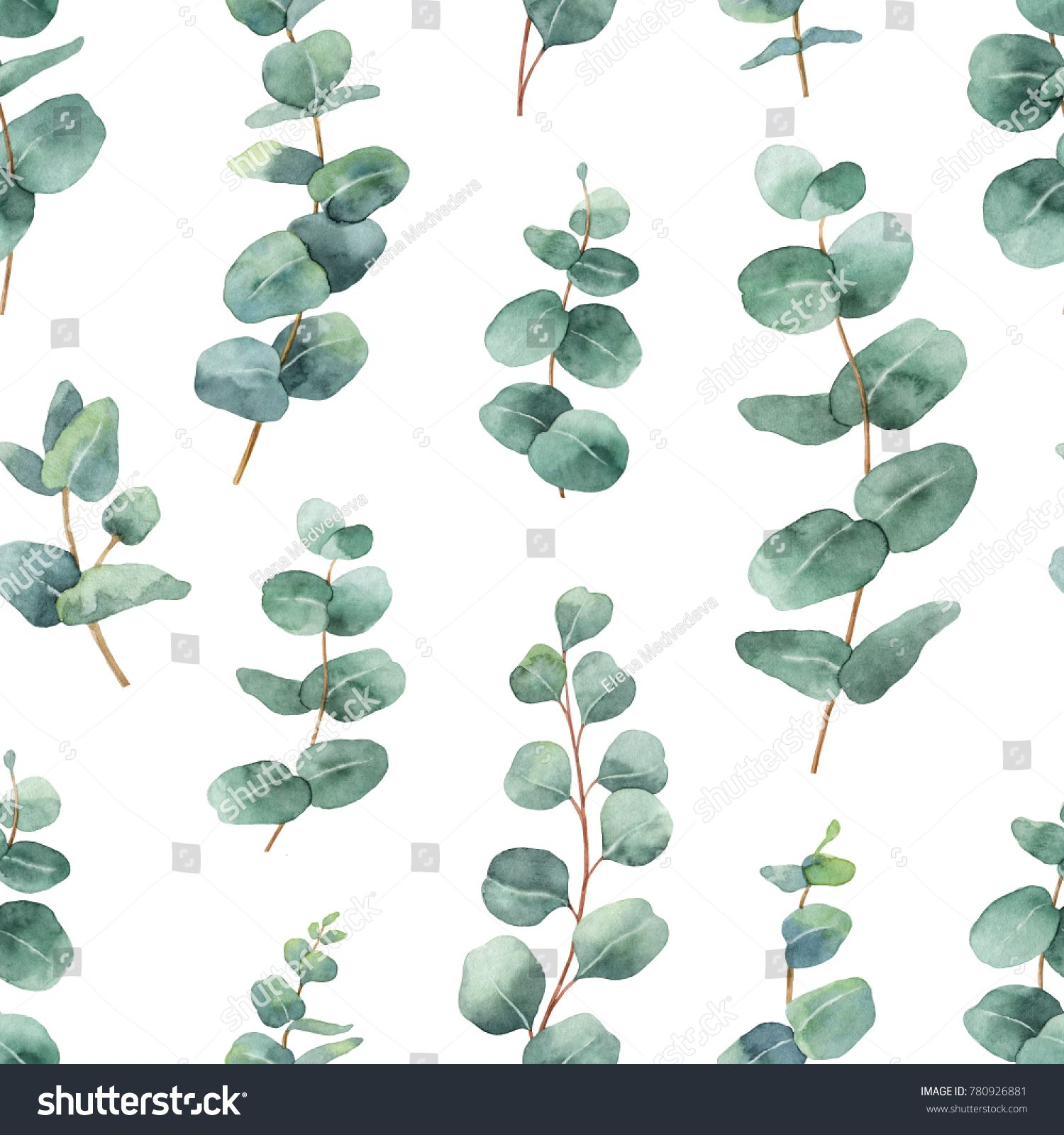 Watercolor seamless pattern with silver dollar eucalyptus.