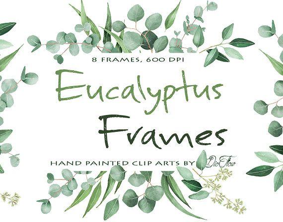 Watercolor Eucalyptus Clipart Frame Greenery Frames Clip Art.