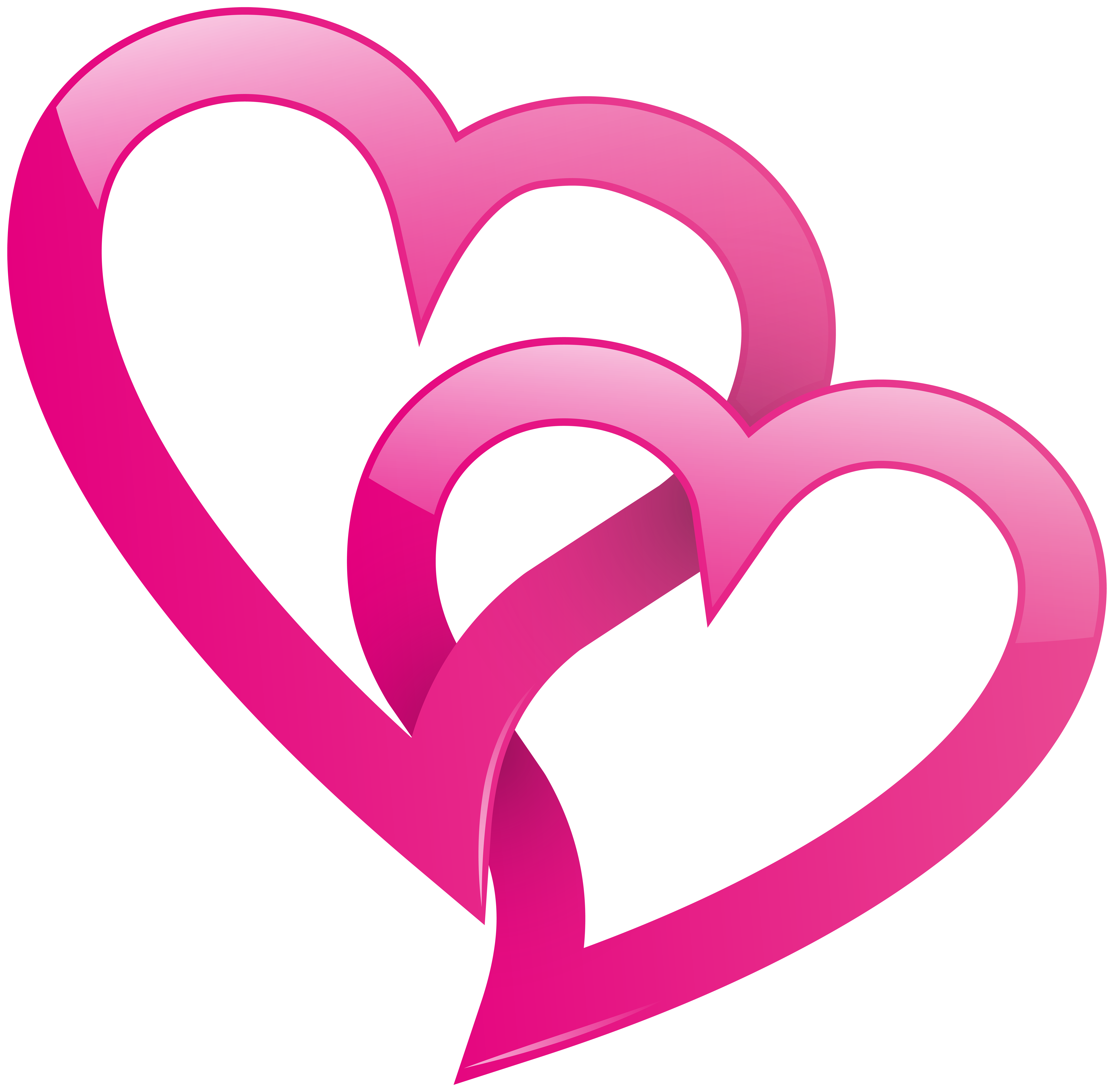 Pink Double Heart PNG Clip Art Image.