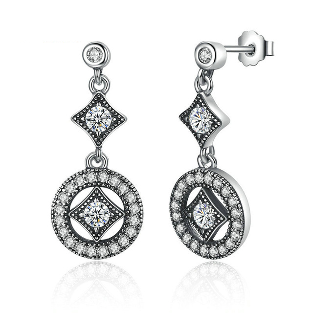 Vintage Allure Drop Sterling Silver Earrings.