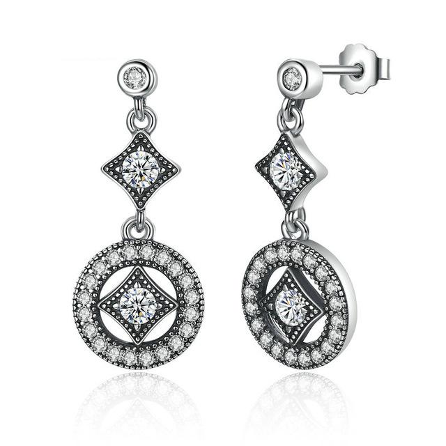 Vintage Allure Drop Sterling Silver Earrings.