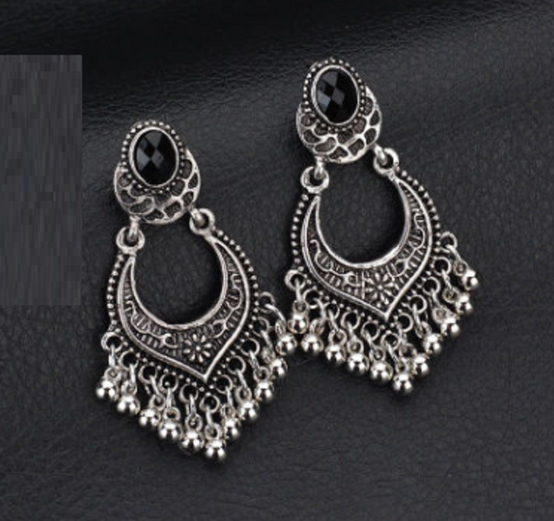 Diva New Style Beads Tassel Ancient Silver Colour Earrings.