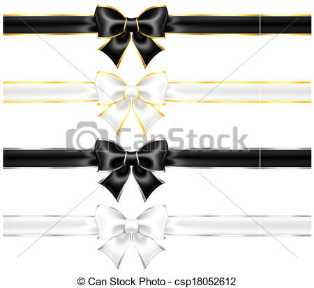 Vector Clip Art of White and black bows with gold and silver.